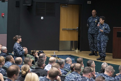 Fri, 03/17/2017 - 13:50 - 170317-N-MZ309-087 NAVAL SUPPORT ACTIVITY NAPLES, Italy (March 17, 2017) Commander, U.S. Naval Forces Europe-Africa Adm. Michelle J. Howard holds a Commander's Call with Fleet Master Chief Raymond D. Kemp for senior leadership at Naval Support Activity Naples, Italy, March 17, 2017. U.S. Naval Forces Europe-Africa, headquartered in Naples, Italy, oversees joint and naval operations, often in concert with allied, joint, and interagency partners, to enable enduring relationships and increase vigilance and resilience in Europe and Africa. (U.S. Navy photo by Mass Communication Specialist 1st Class Ryan Riley/Released)
