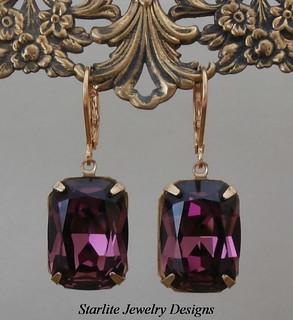Vintage Amethyst Swarovski Crystal Earrings ~ Bridesmaids Earrings ~ Weddings Bridal Brides Jewelry ~ Purple Amethyst ~ Vintage Swarovski Crystal Earrings ~ True Vintage