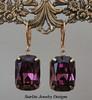 Vintage Amethyst Swarovski Crystal Earrings ~ Bridesmaids Earrings ~ Weddings Bridal Brides Jewelry