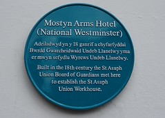 Photo of Mostyn Arms Hotel and St Asaph Union Board of Guardians blue plaque