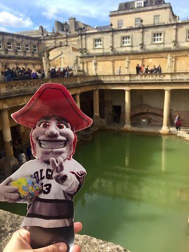 Emily Shlafmitz '18 majoring in English participating on spring 17 London English study group Roman Baths, Bath