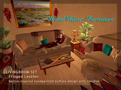 Leather Fringe Livingroom Set by Teal Freenote