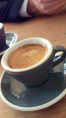 Long black coffee at Tall Timber cafe in Prahran