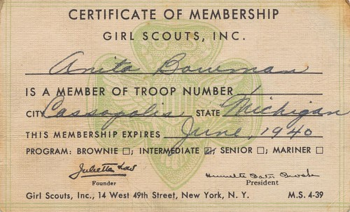 Girl Scouts Certificate of Membership