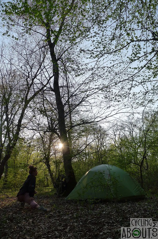 Wild camping in the lush forest in Azerbaijan