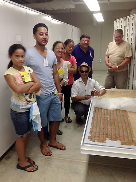 <p>While at the Smithsonian's Natural History and Anthropology Collections, the University of Hawaii delegation saw tapa cloth from Hawaii circa 1830s from among the first American expeditions collecting archival and archaeological specimens.</p>