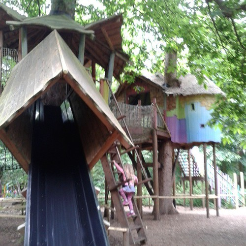 Playing in the tree houses at BeWILDerWOOD!