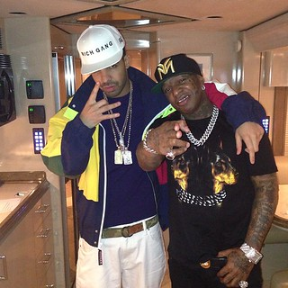 Birdman Drack and Mack Maine chilling on a tour Bus