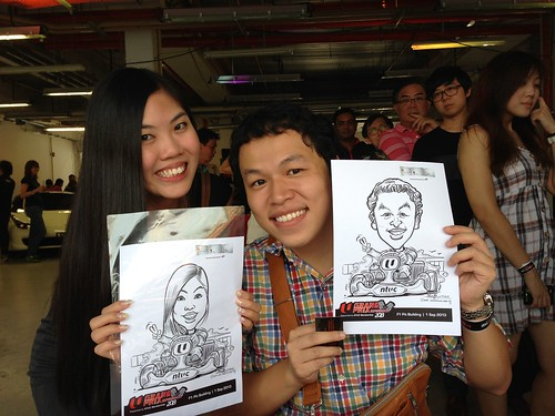 caricature live sketching for NTUC U Grand Prix Experience 2013 - 6