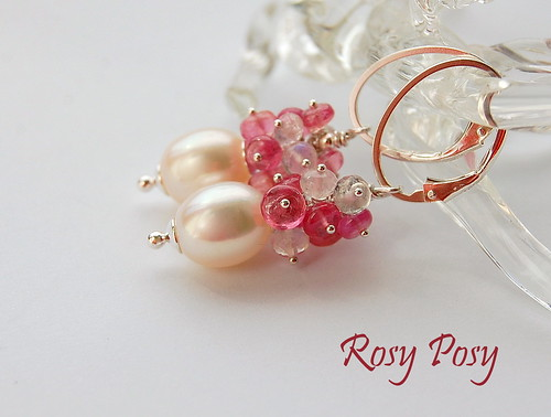 Rosy Posy Earrings by gemwaithnia