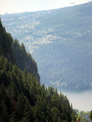 Mountains, trees, lakes, houses
