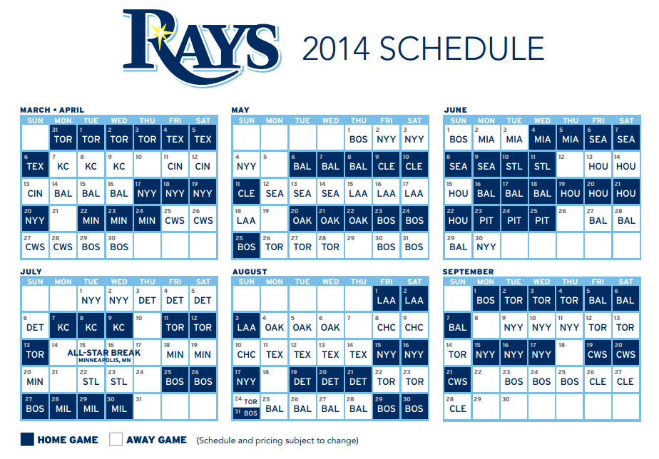 2014 Rays schedule