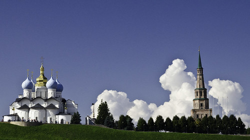 sky tower church clouds landscape asia view russia mosque noon leaningtower kremlin kazan tatarstan söyembikätower