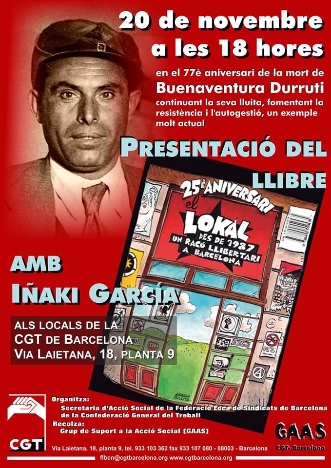 presentació 25 anys del Lokal #20N a CGT de Barcelona