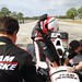 Juan Pablo Montoya steps into his car prior to testing at Sebring