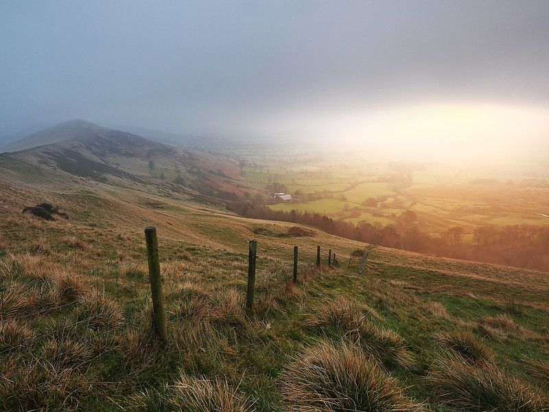 A photo of beautiful light on Mam Tor and the Great Ridge between Edale and Castleton, in the Hope Valley, in the Derbyshire Peak District.