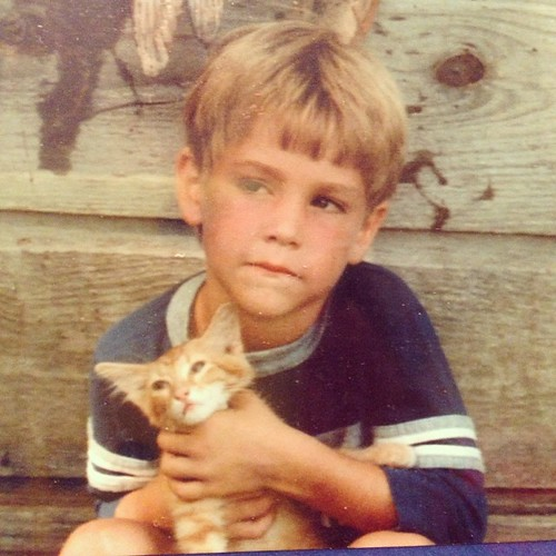 Ladies and gentleman, I think we now know where Berkley learned her cat handling skills (Brian circa 1984)