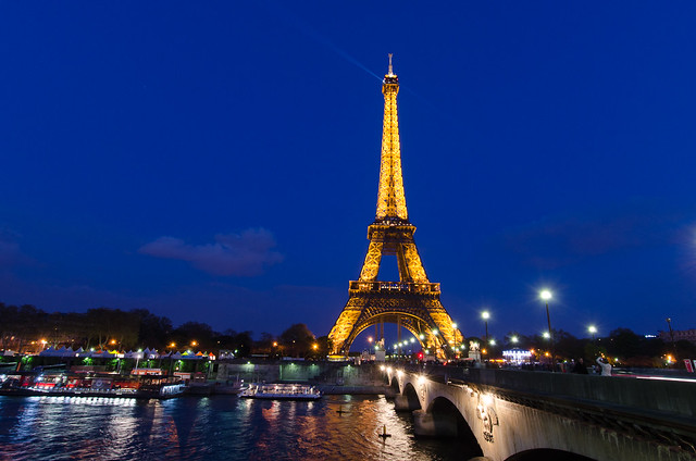 The Eiffel Tower from across the River Seine