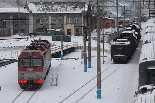Steam locomotives parked beside modern electric units