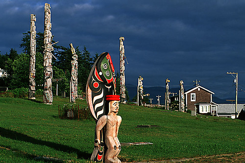 Memorial Totem Poles at the Namgis Burial Grounds, Alert Bay, Cormorant Island, British Columbia