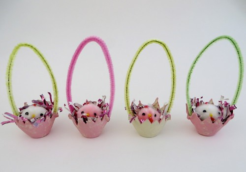 Chicks in Easter egg baskets
