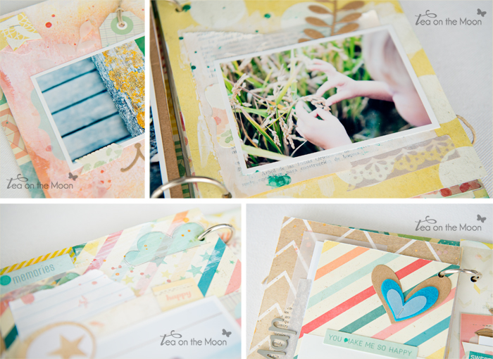 mini album scrapbook tea on the moon happy detalles