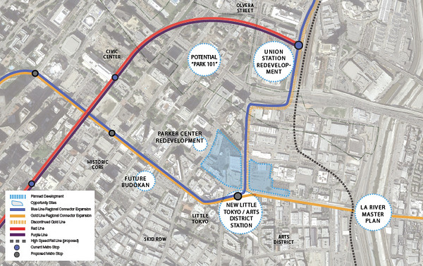 current and future transit lines in Little Tokyo (via A Sustainable Little Tokyo)