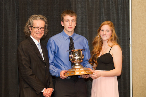 Dr. Alan Shaver presents Barnsley Award winners Brett Rouault and Jorri Duxbury 2013-14 (Snucins)