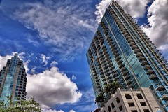 Glass & Steel.   C70D.    Skyscrapers reach for the clouds in Tampa, FL.