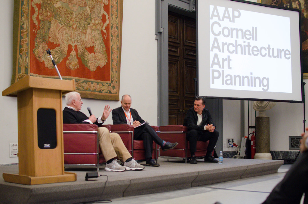 Dean Kleinman (center) hosts a discussion panel between Eisenman and Patrik Schumacher.   photo / Maddy Eggers (B.Arch. '19)