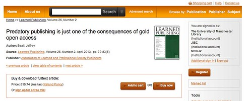 """Predatory publishing is just one of the consequences of gold open access""... at least according to Jeffrey Beall..."