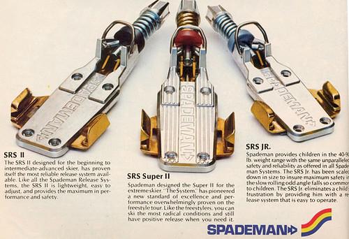 Spademan– desková vázání, de facto bezpečnější, neuspěla hlavně kvůli předčasnému vypínání