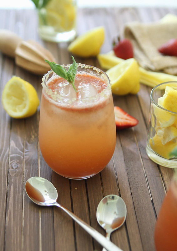 Strawberry lemonade with basil