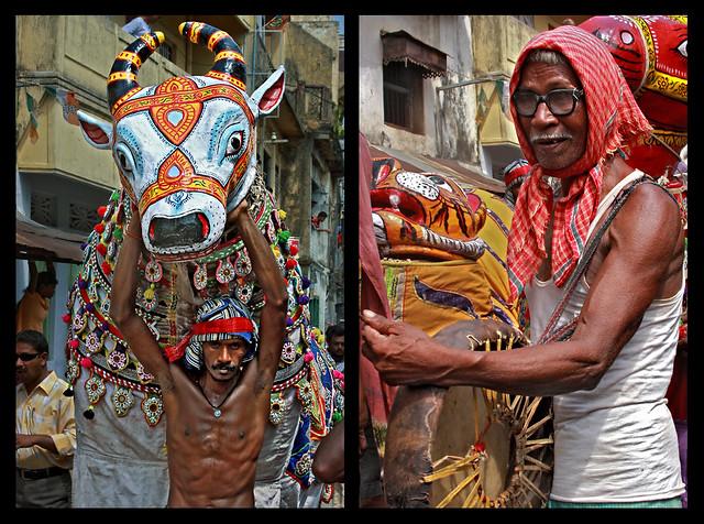 Sital_Sasthi_horse_dance_ghodanach_old_man_drummer_badya