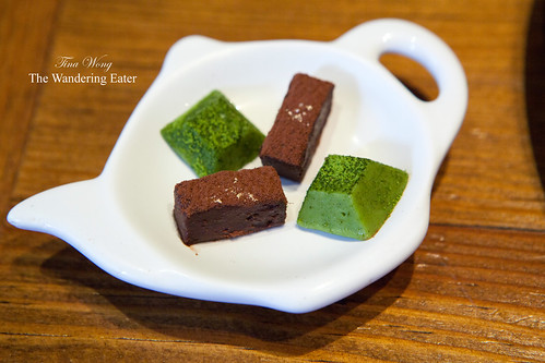 Matcha tea and bittersweet chocolate truffles