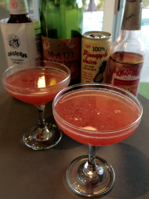 Halekulani cocktail: okolehao, pineapple juice, lemon, orange, grenadine, angostura bitters