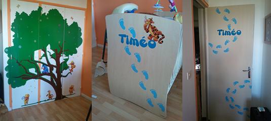 Conception et pose des stickers muraux pour la décoration de la chambre d'un enfant.
