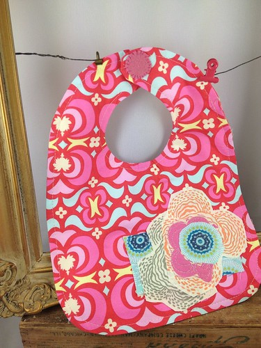 Baby bibs and burp cloths free motion stitched