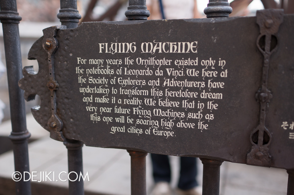 Tokyo DisneySea - Mediterranean Harbor / Fortress Explorations / Flying Machine sign