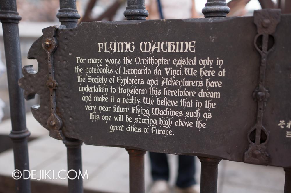 Tokyo DisneySea - Mediterranean Harbor / Fortress Explorations / Flying Machine sign