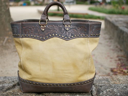 RRL / Studed Canvas & Leather Tote