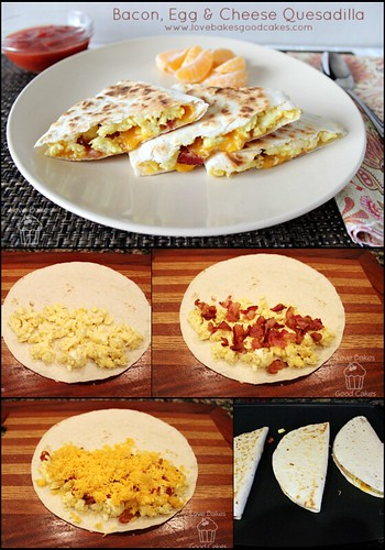 Bacon, Egg & Cheese Quesadilla from Love Bakes Good Cakes #porkinapinch #PMedia #ad