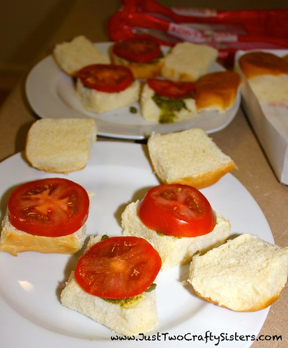 Pesto, parmesan, tomato sliders recipe
