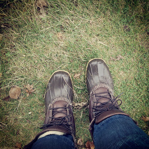 First time wearing our Bean boots for the year! I was.so excited to put them on! #Mainer #llbean