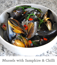Mussels with Samphire & Chilli