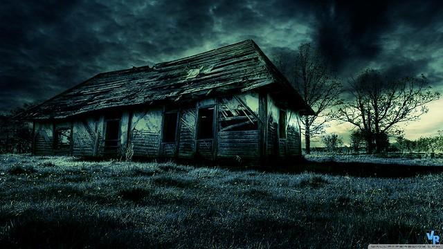 Dark Old House HD Desktop Wallpaper