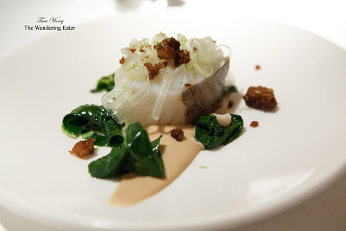 Third course - Cod topped with pickled cauliflower puree