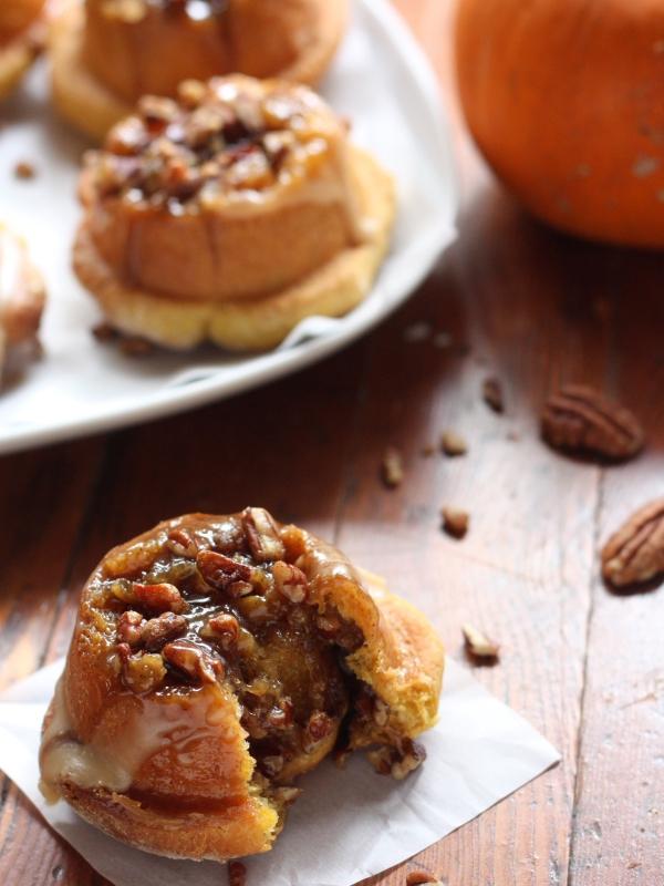 Pumpkin Sticky Buns Recipe // completelydelicious.com