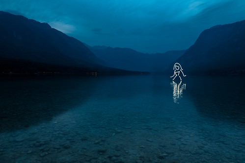 Wavelength (All In Camera Lightpainting), Bohinj Jezero by flatworldsedge