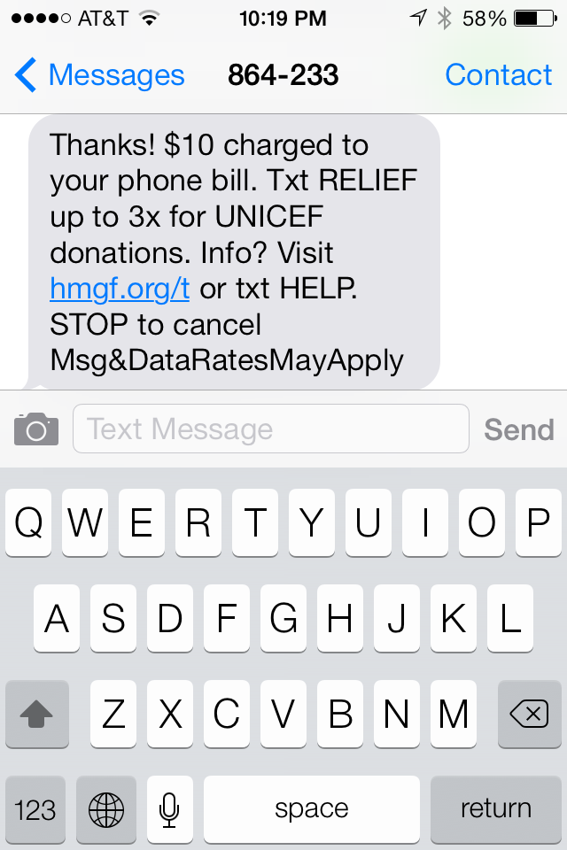 text donating 4